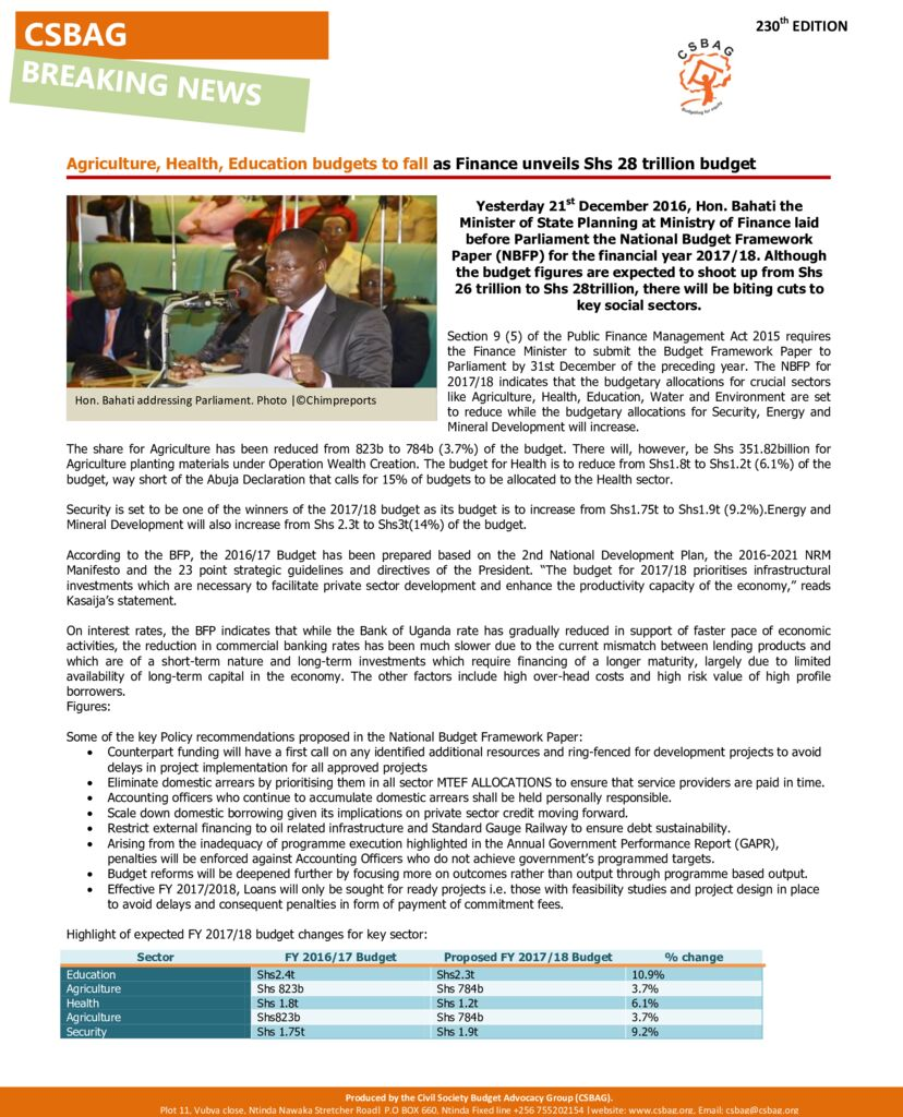 thumbnail of Agriculture, Health, Education budgets to fall as Finance unveils Shs 28 trillion budget