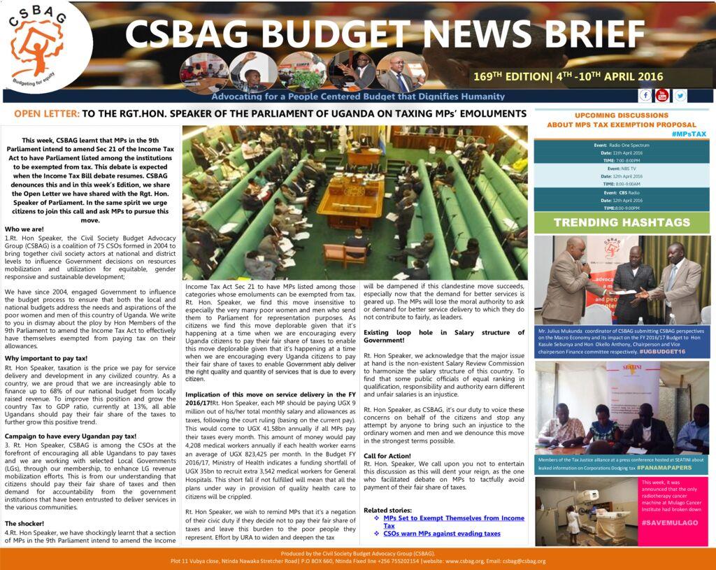 thumbnail of CSBAG BUDGET NEWS 169th Edition-10th Aprl-2016