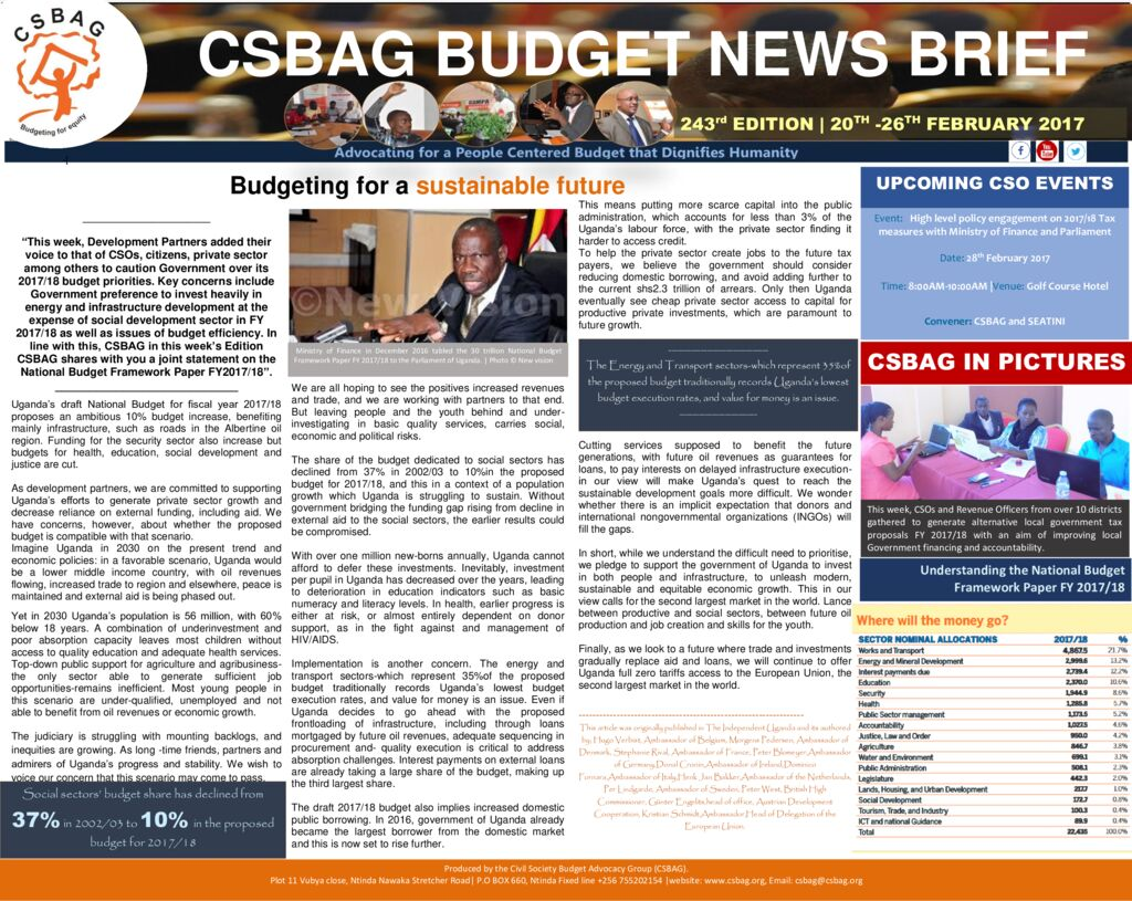 thumbnail of CSBAG BUDGET NEWS 243nd Edition-26th Feb 2017