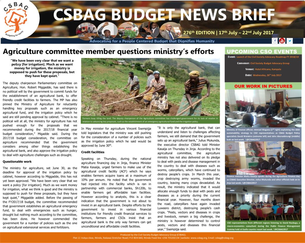 thumbnail of CSBAG BUDGET NEWS 276th Edition