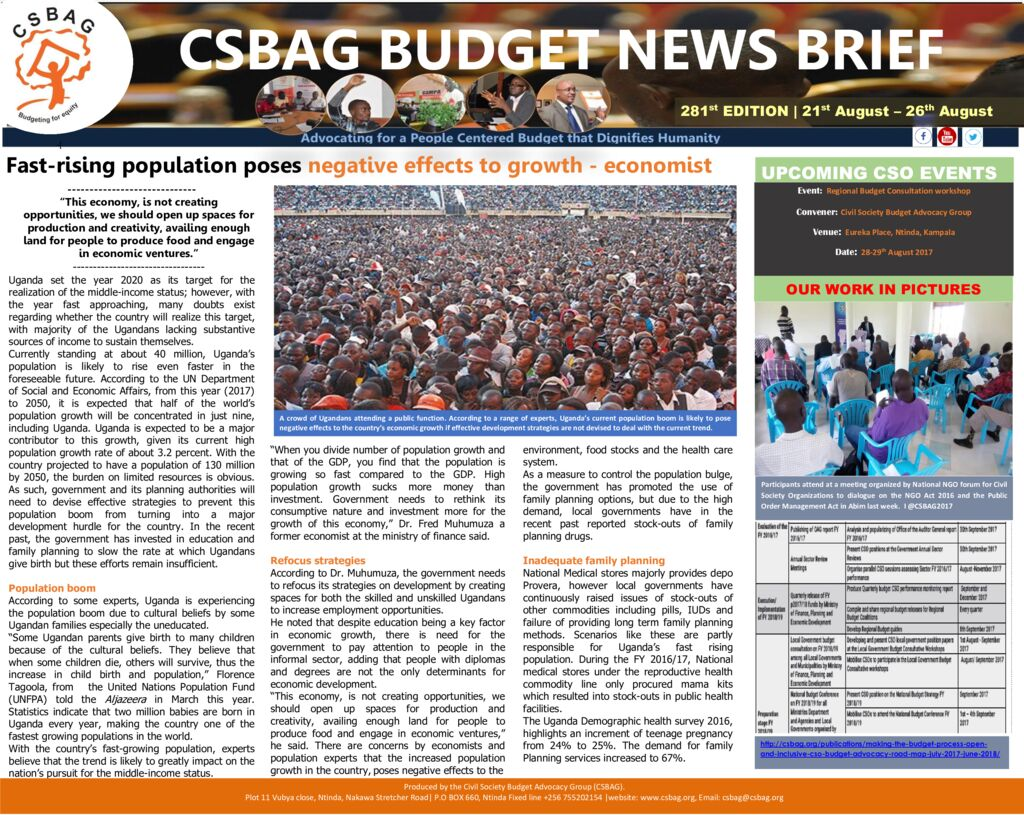 thumbnail of CSBAG BUDGET NEWS 281st Edition-21st August 2017