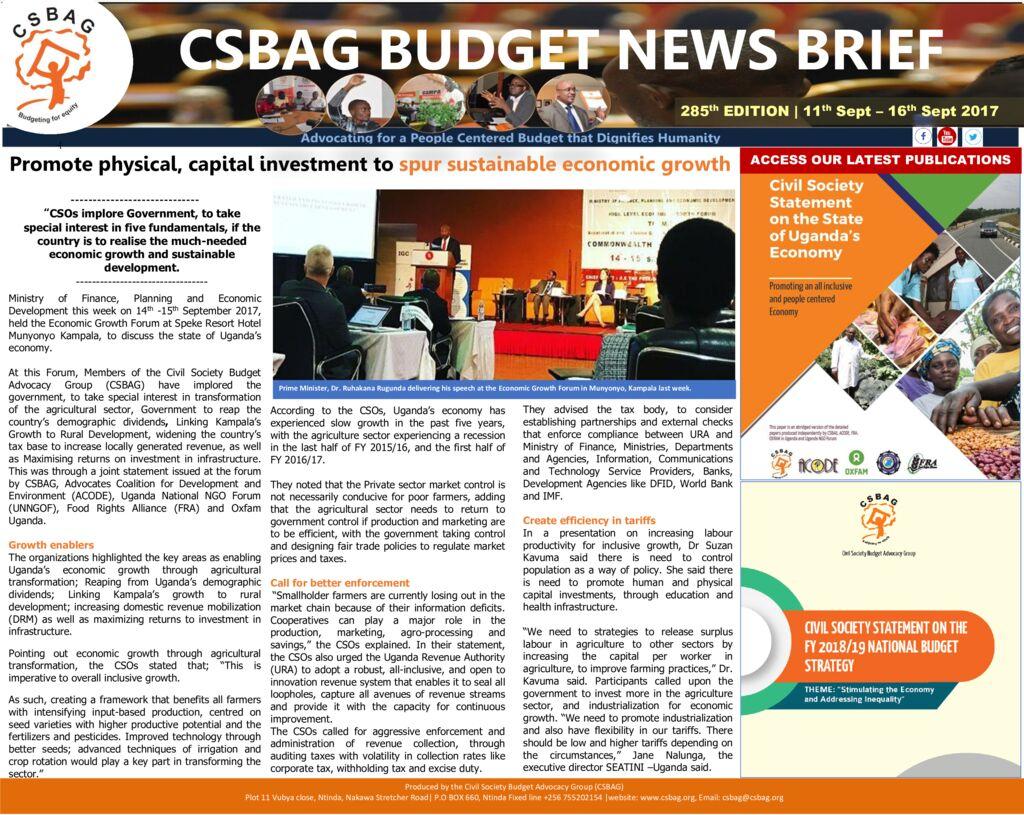 thumbnail of CSBAG BUDGET NEWS 285th Edition