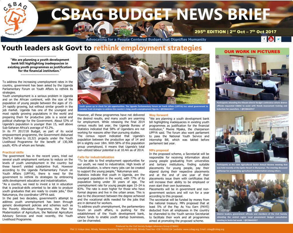 thumbnail of CSBAG BUDGET NEWS 295th Edition-9th Oct 2017