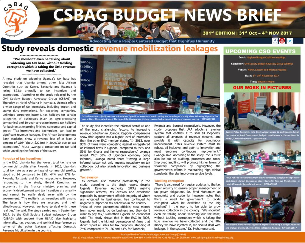 thumbnail of CSBAG BUDGET NEWS 301st Edition-5th Nov 2017