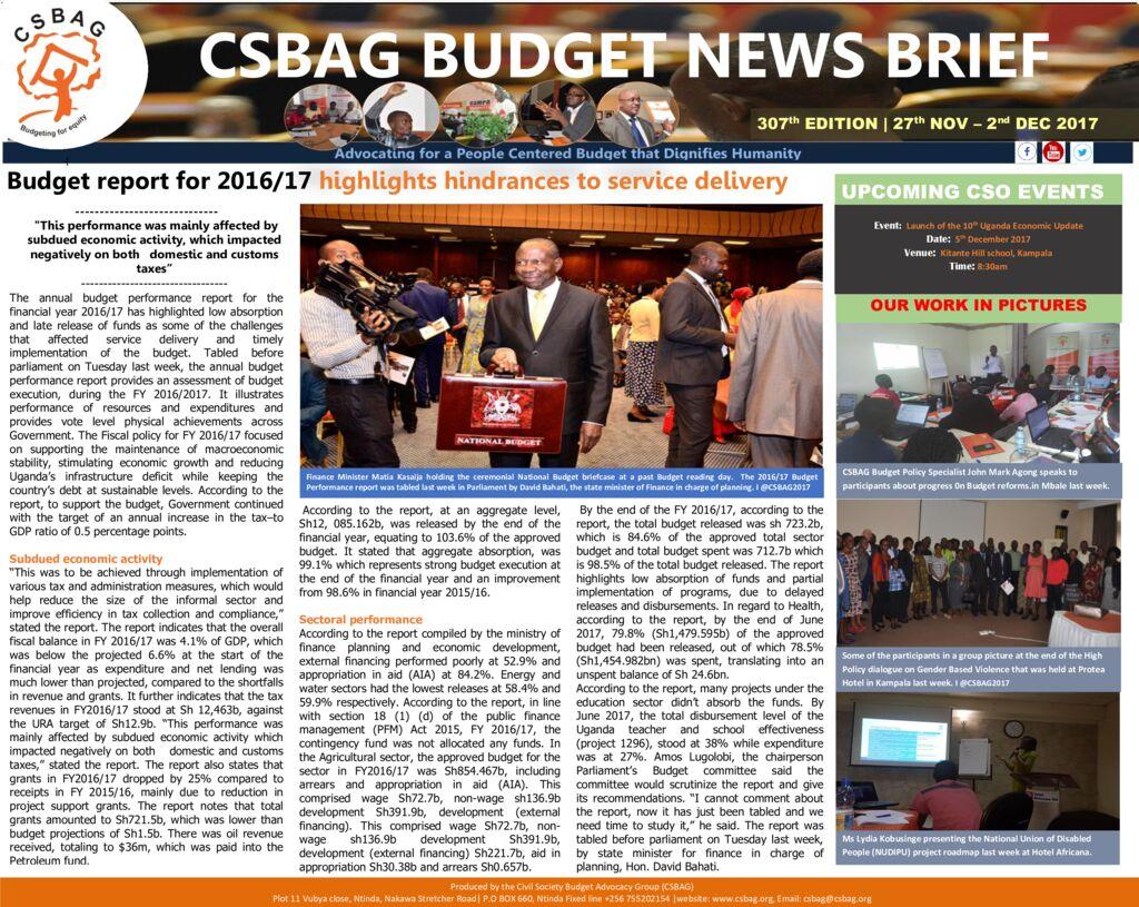 thumbnail of CSBAG BUDGET NEWS 307th Edition-4th Dec 2017