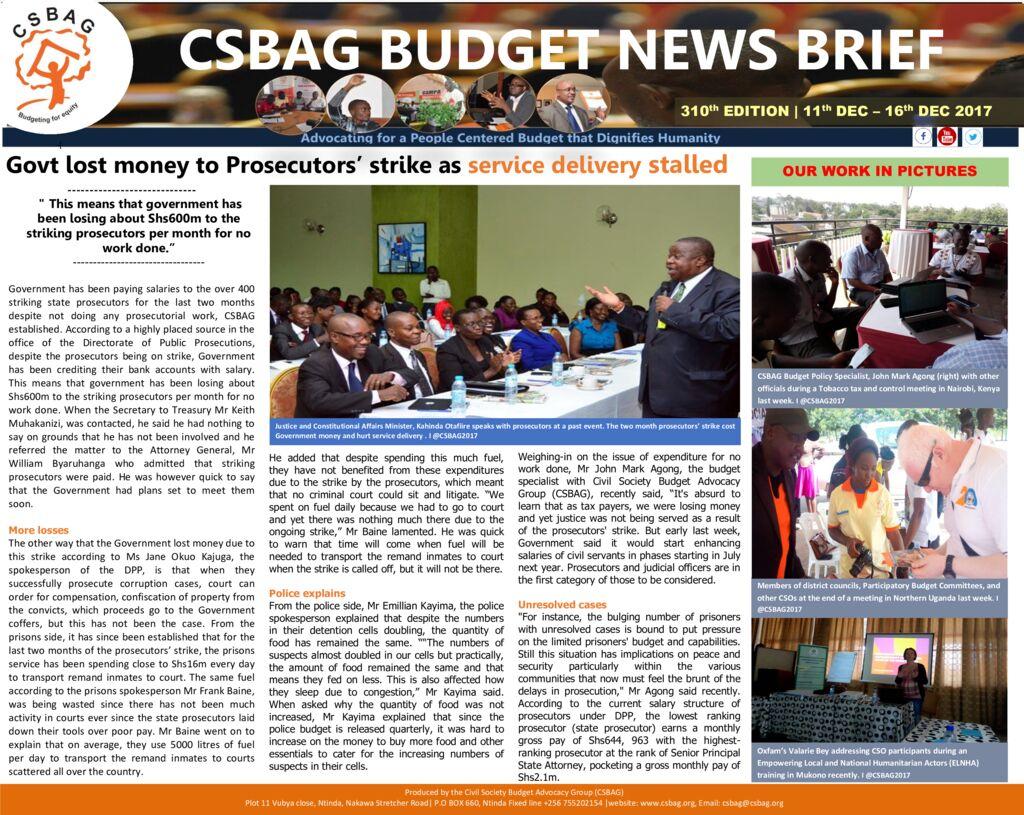thumbnail of CSBAG BUDGET NEWS 310th Edition-18th Dec 2017