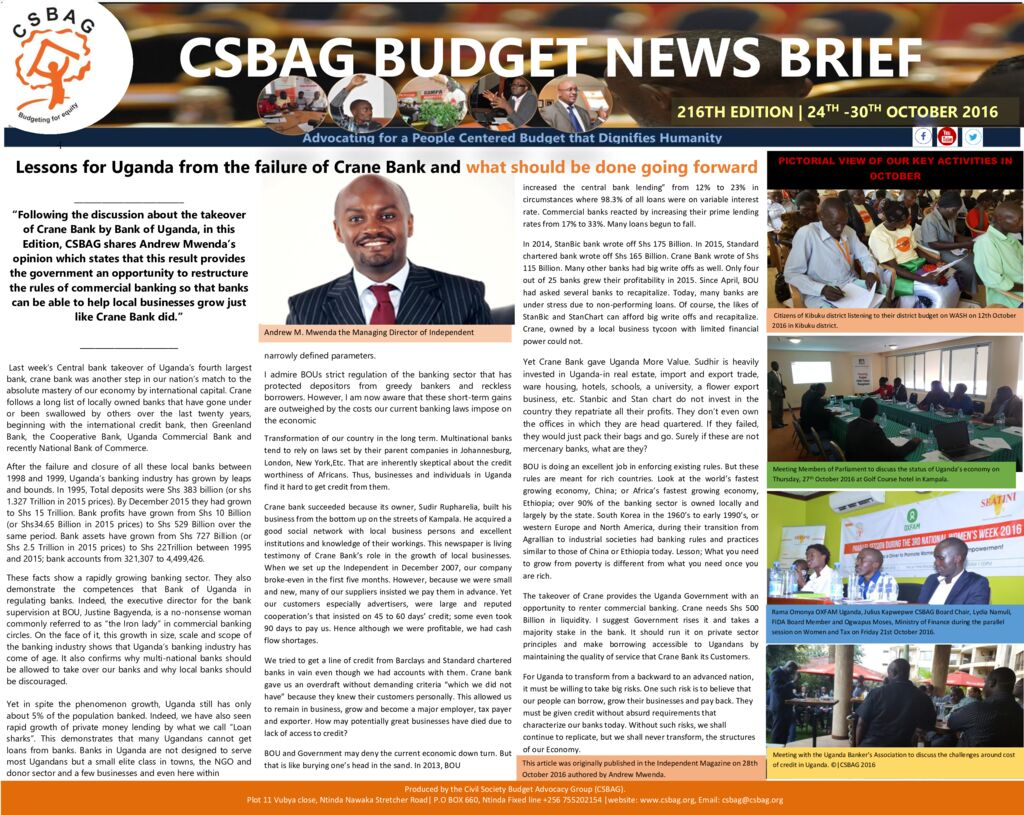 thumbnail of CSBAG BUDGET NEWS.216th edition-31-0ct 2016