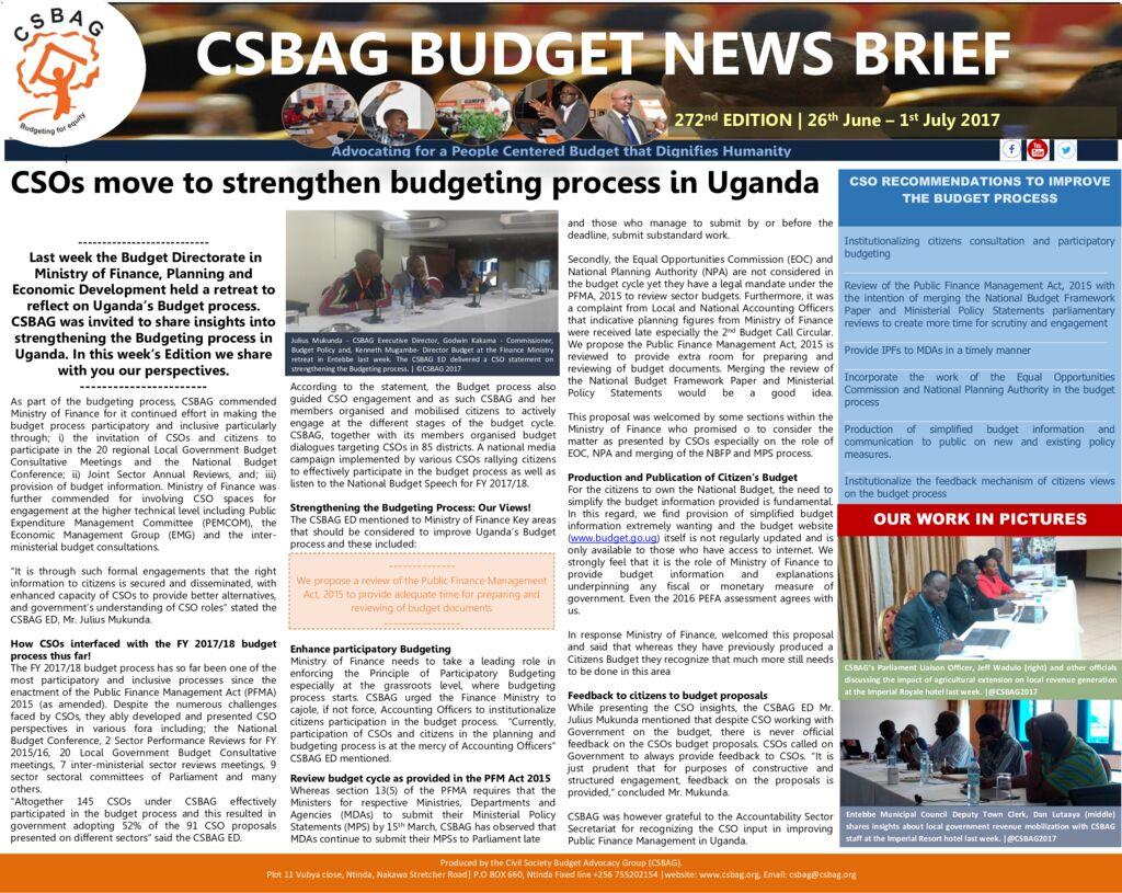 thumbnail of CSBAG NEWS UPDATE -CSOs move to strengthen budgeting process in Uganda
