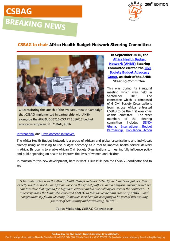 thumbnail of CSBAG to chair Africa Health Budget Network Steering Committee. 21st sept 2016