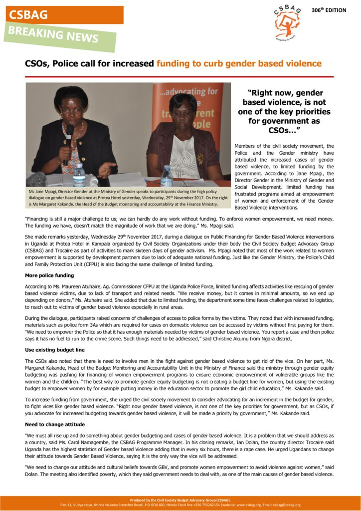 thumbnail of CSOs, Police call for increased funding to curb gender based violence