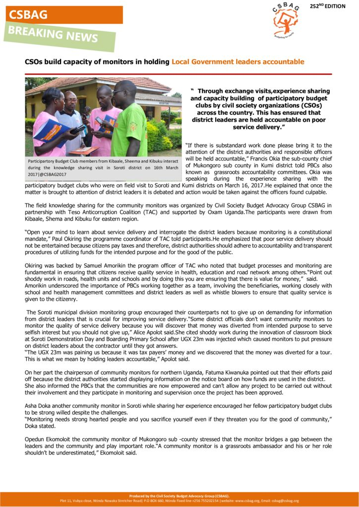 thumbnail of CSOs build capacity of monitors in holding Local Government leaders accountable