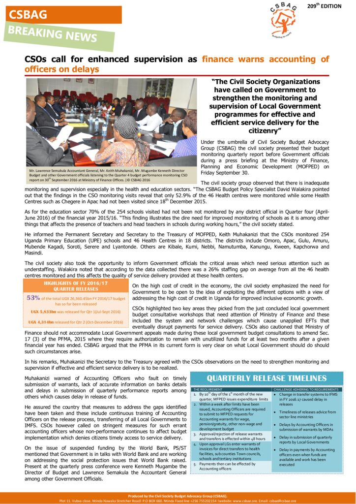 thumbnail of CSOs call for enhanced supervision as finance warns accounting of officers on delays