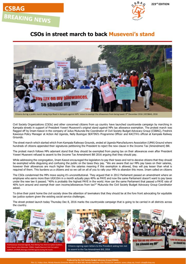 thumbnail of CSOs in street march to back Museveni's stand 8th Dec 2016