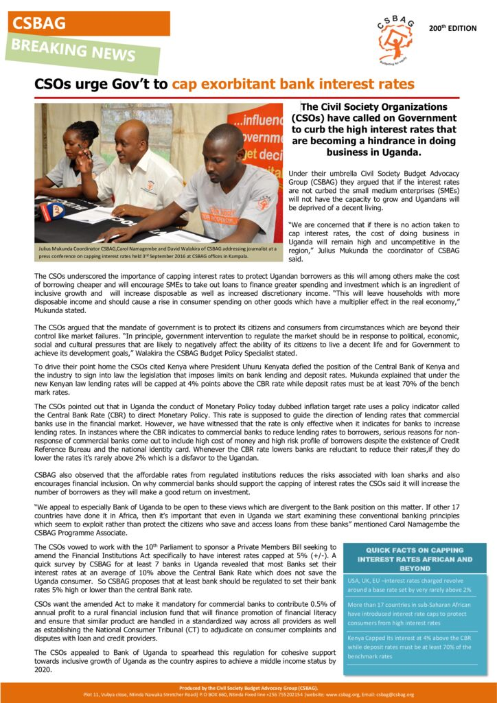 thumbnail of CSOs urge Gov't to cap exorbitant bank interest rates