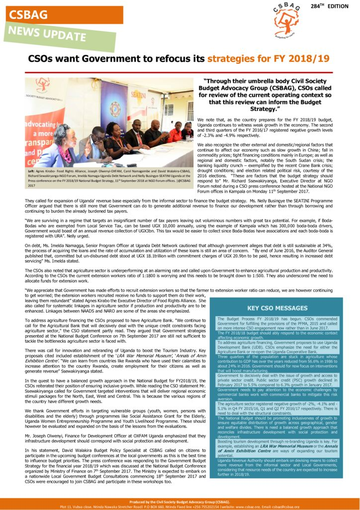 thumbnail of CSOs want Government to refocus its strategies for FY 2018-19