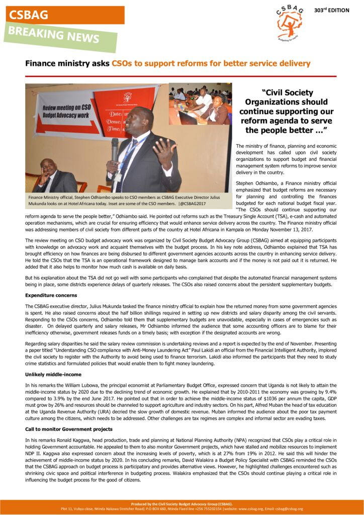 thumbnail of Civil Society Organisations launch road map for FY 201819 Budget advocacy