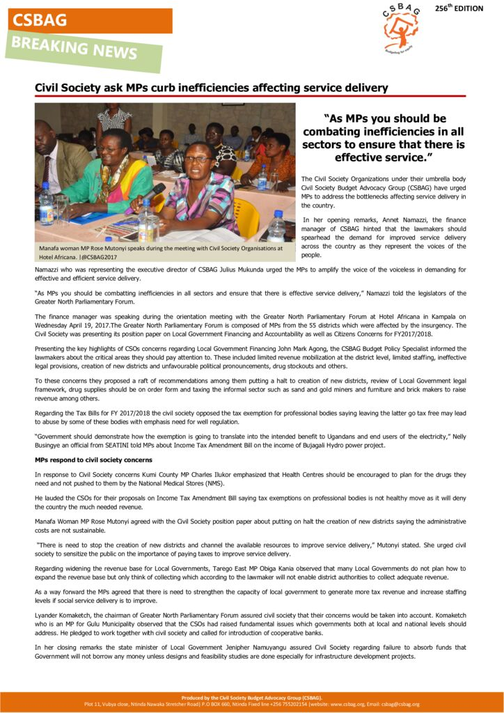 thumbnail of Civil Society ask MPs curb inefficiencies affecting service delivery
