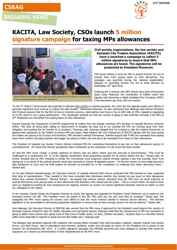 thumbnail of KACITA, Law Society, CSOs launch 5 million signature campaign for taxing MPs allowances-21-april 2016