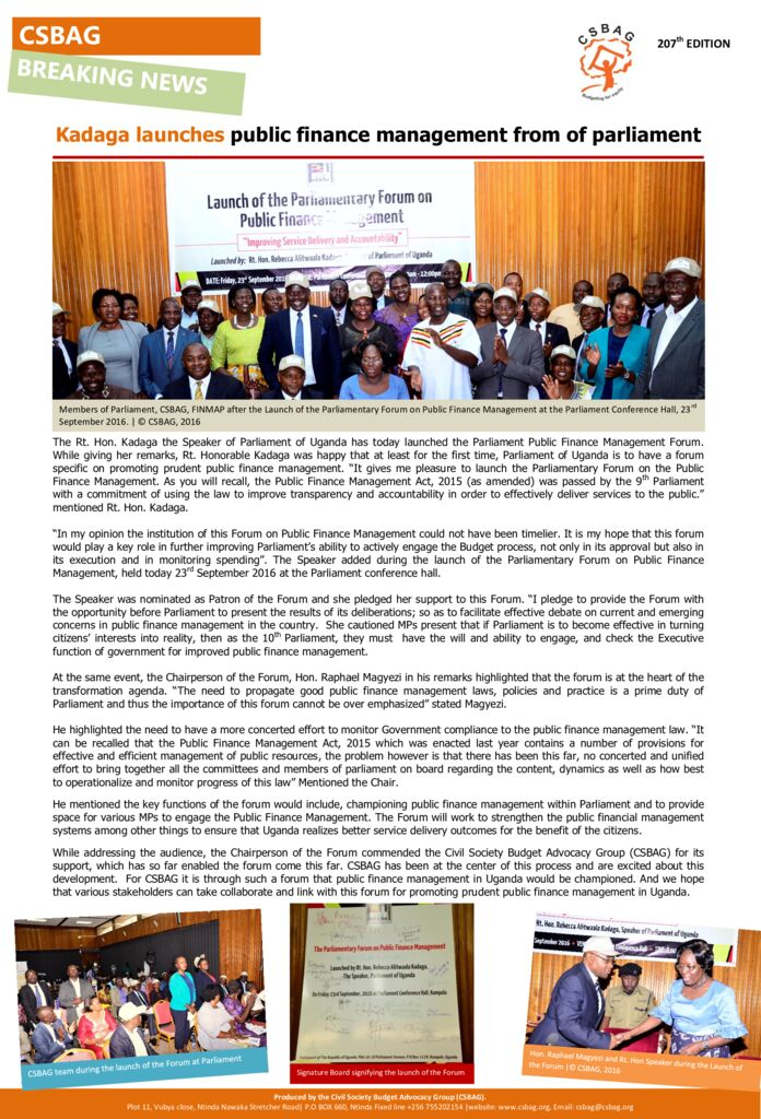thumbnail of Kadaga launches public finance management from of parliament 23rd sept 2016