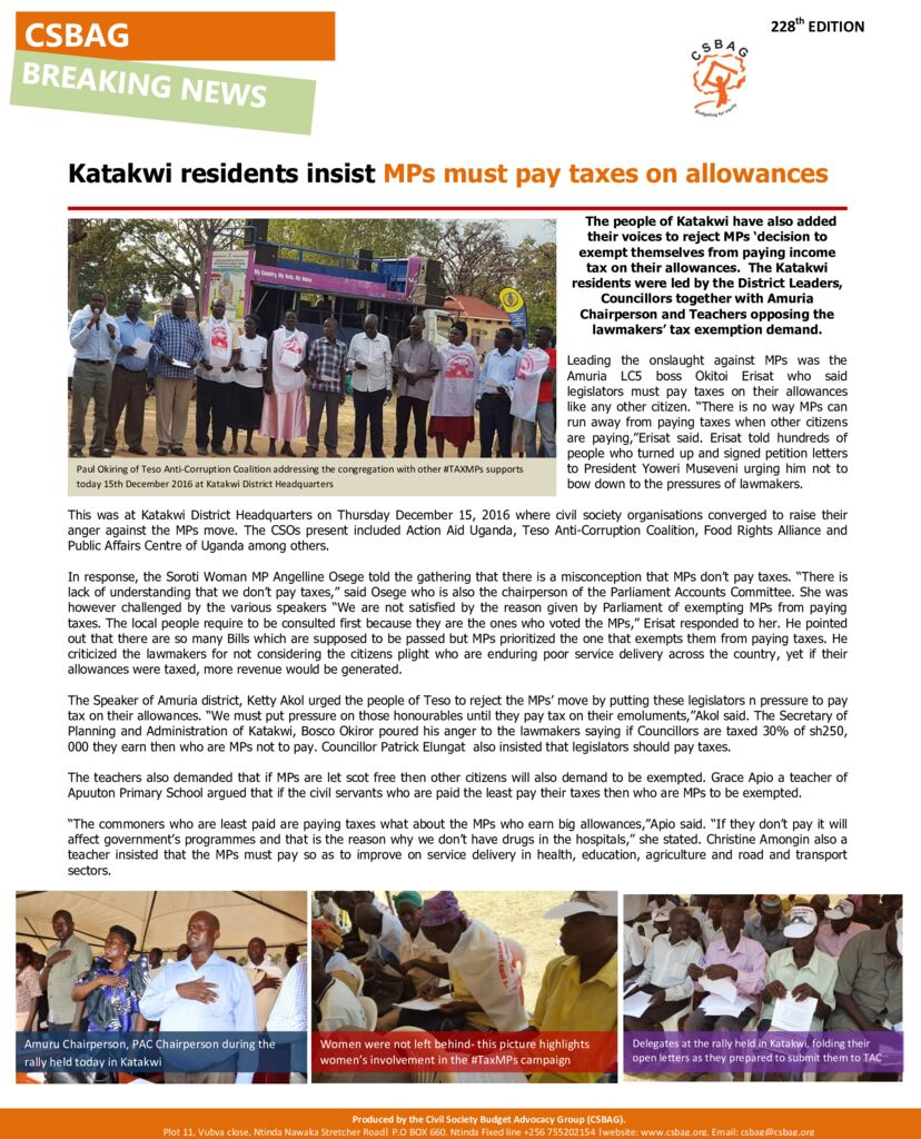 thumbnail of Katakwi residents insist MPs must pay taxes on allowances-15th Dec 2016