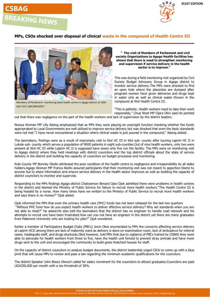 thumbnail of MPs, CSOs shocked over disposal of clinical waste in the compound of Health Centre III