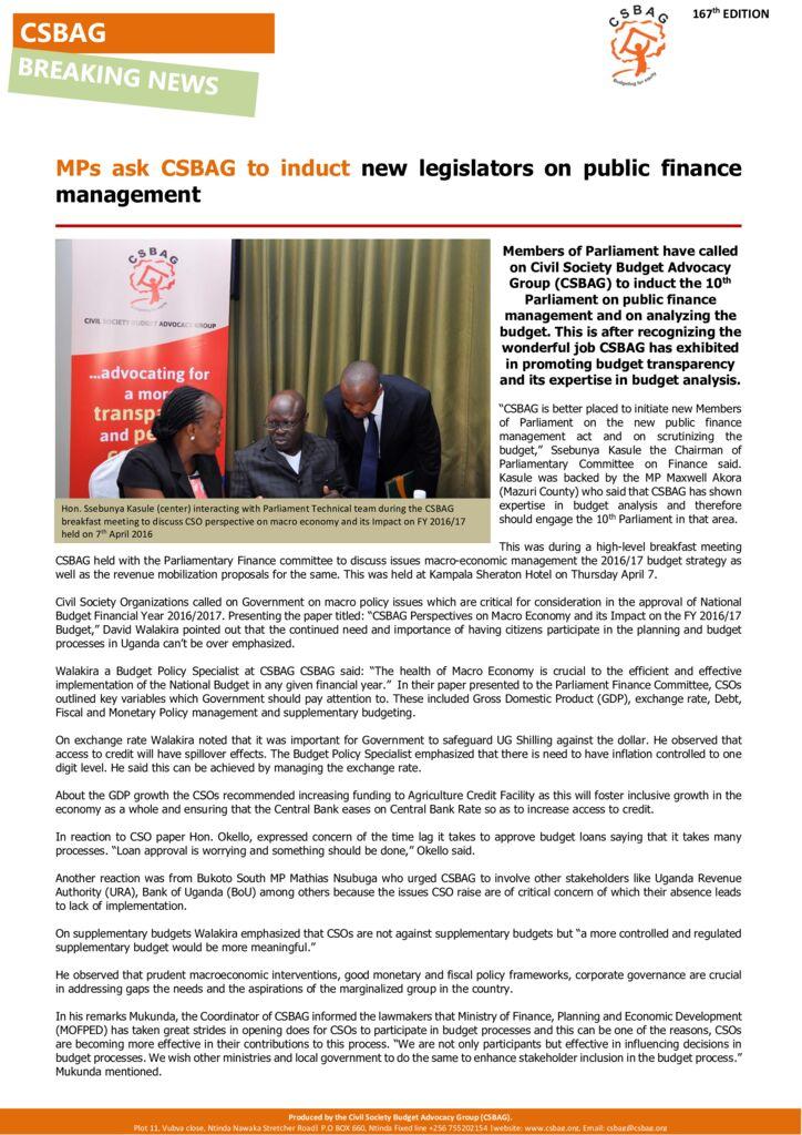 thumbnail of MPs ask CSBAG to induct new legislators on budget processes.7th-April-2016