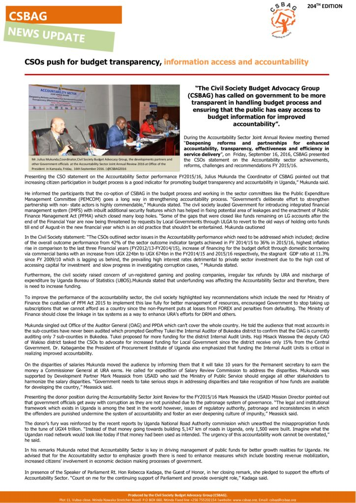 thumbnail of News Update-CSOs push for budget transparency, information access and accountability 17th sept 2016