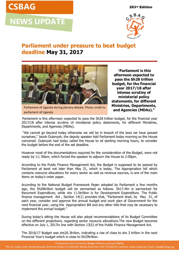 thumbnail of News update- Parliament under pressure to beat budget deadline May 31 2017-31syt May 2017