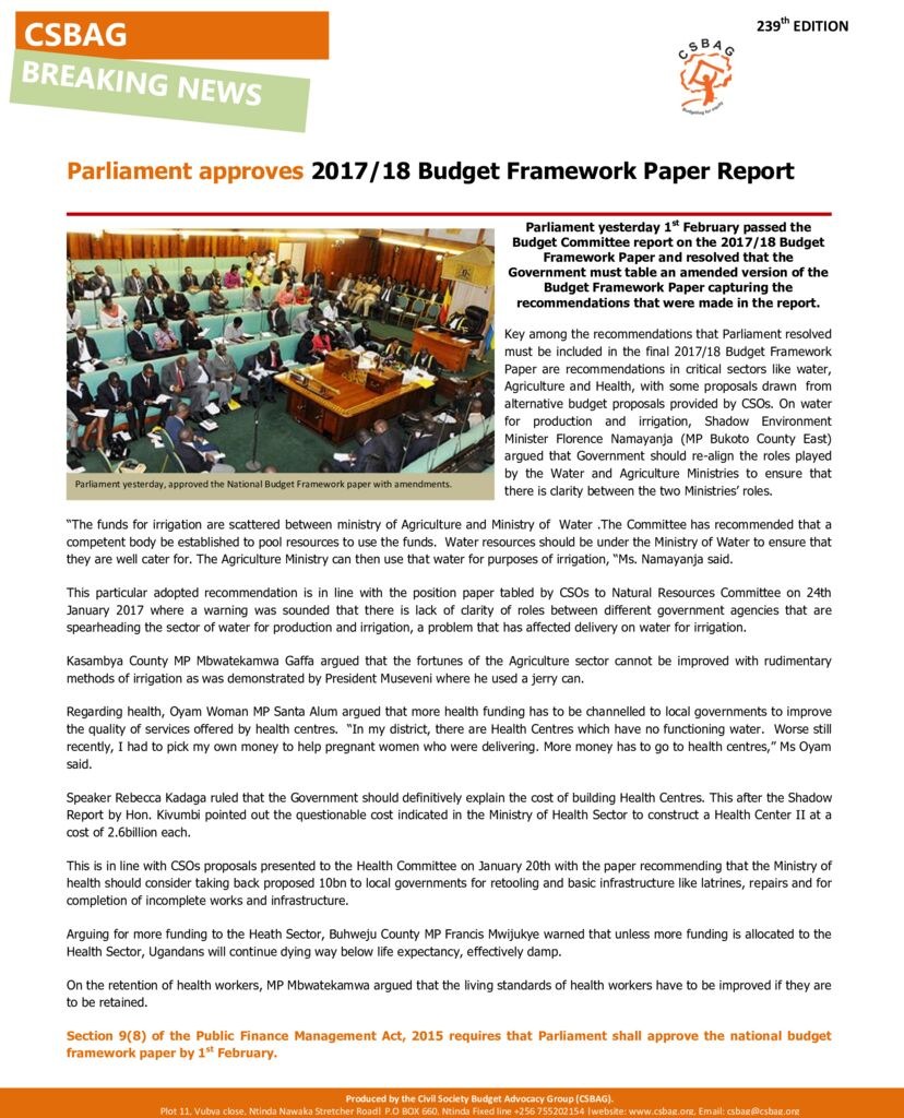 thumbnail of Parliament approves 2017-18 Budget Framework Paper Report