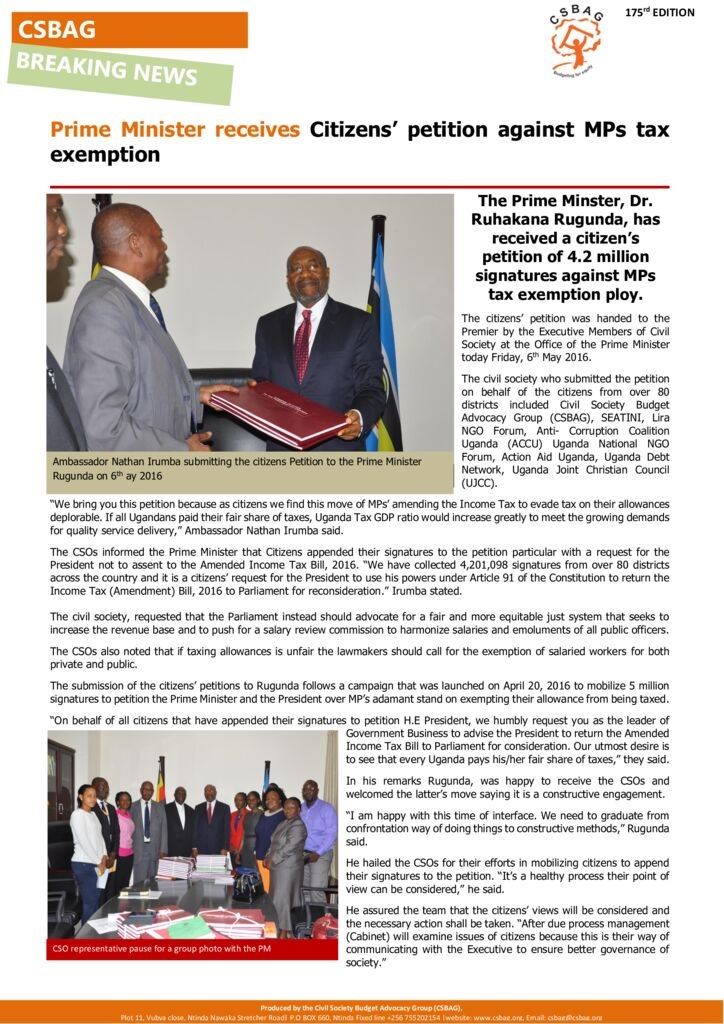 thumbnail of Prime Minister receives Citizens' petition against MPs tax exemption 6th May 2016