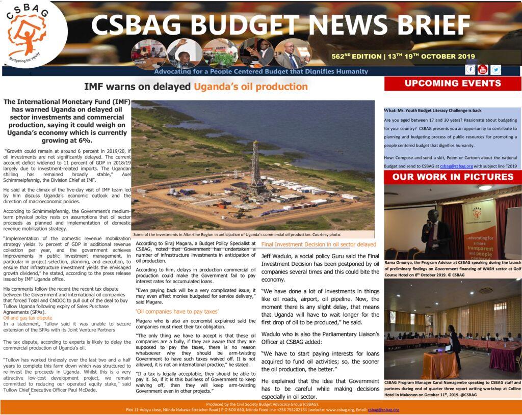 thumbnail of CSBAG BUDGET NEW- IMF warns on Uganda's delayed oil production