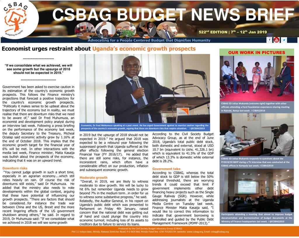 thumbnail of CSBAG BUDGET NEWS 522 13th Jan 2019