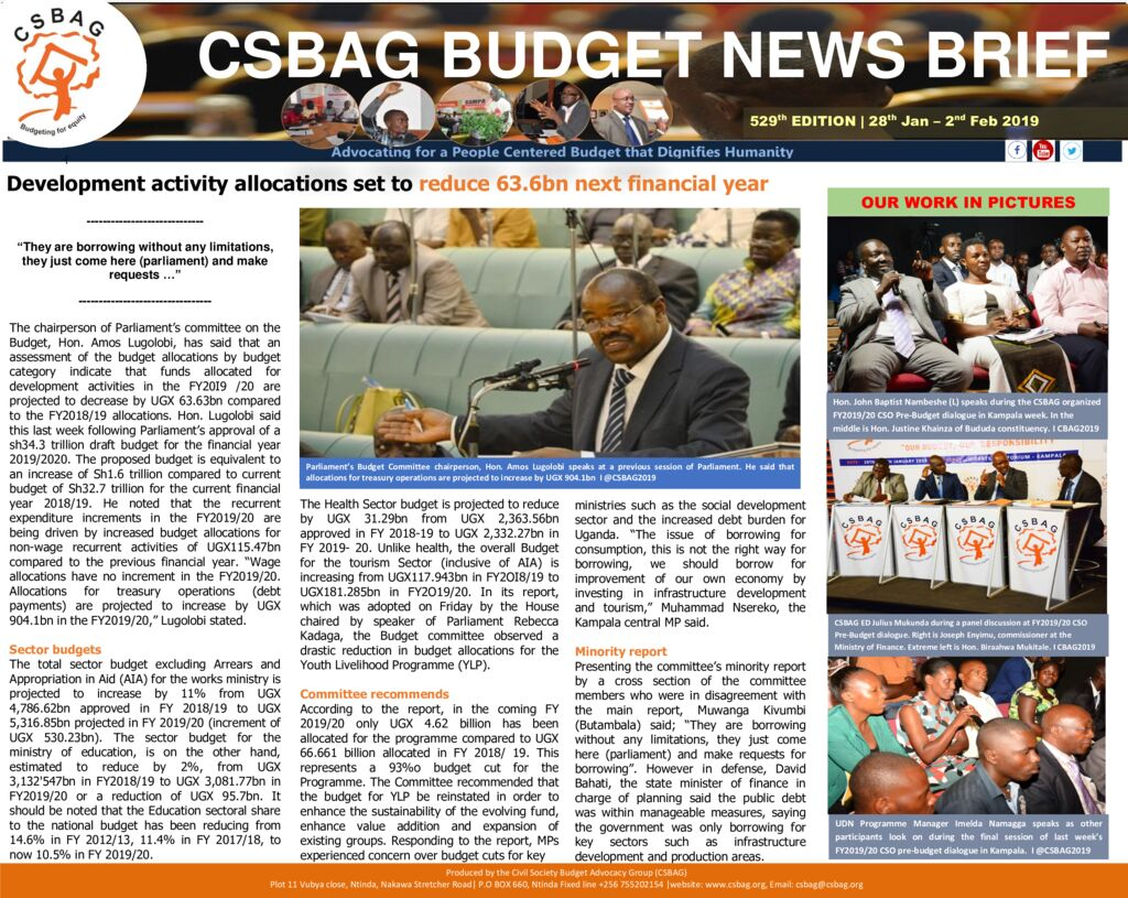 thumbnail of CSBAG BUDGET NEWS 529 3rd Feb 2019