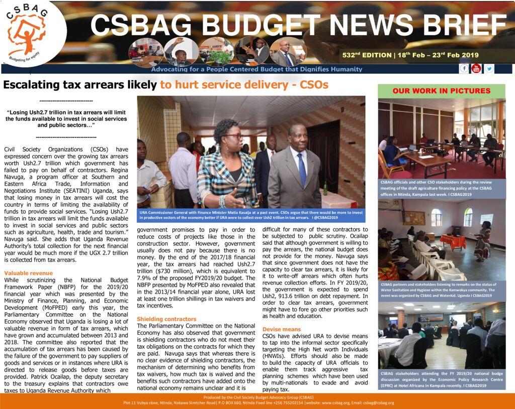 thumbnail of CSBAG BUDGET NEWS 532 24th Feb 2019