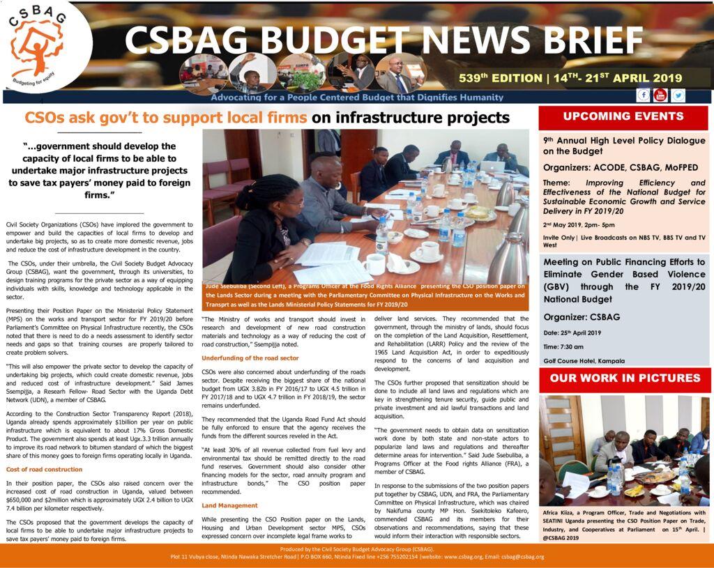 thumbnail of CSBAG BUDGET NEWS 539