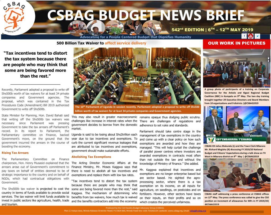 thumbnail of CSBAG BUDGET NEWS 542