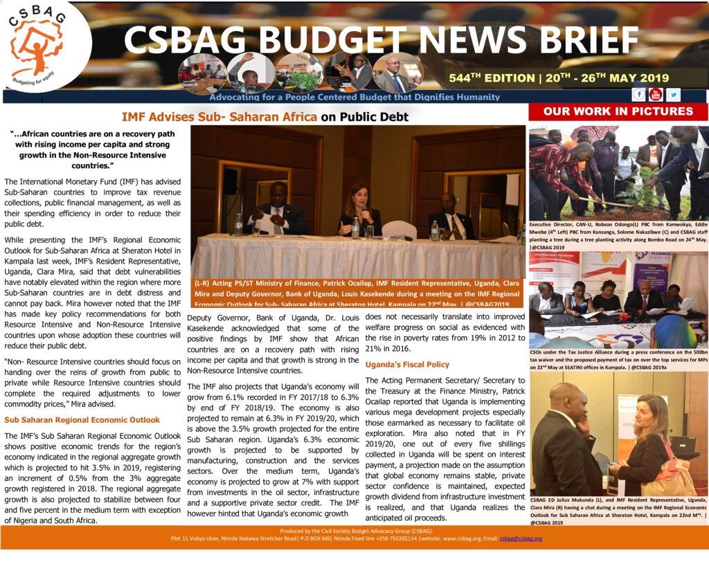 thumbnail of CSBAG BUDGET NEWS 544 28th May 2019