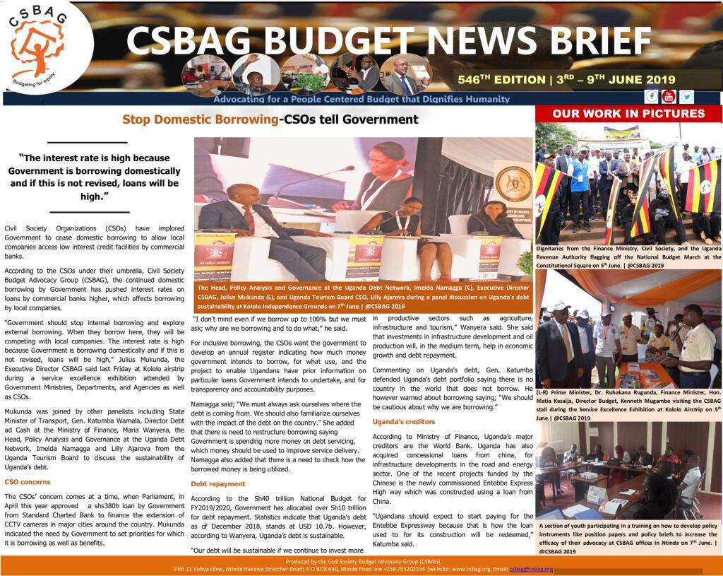 thumbnail of CSBAG BUDGET NEWS 546 9th june 2019