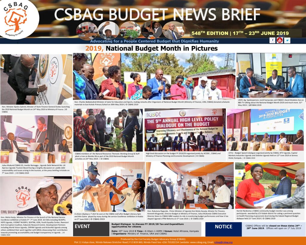 thumbnail of CSBAG BUDGET NEWS 548 24th Jun 2019