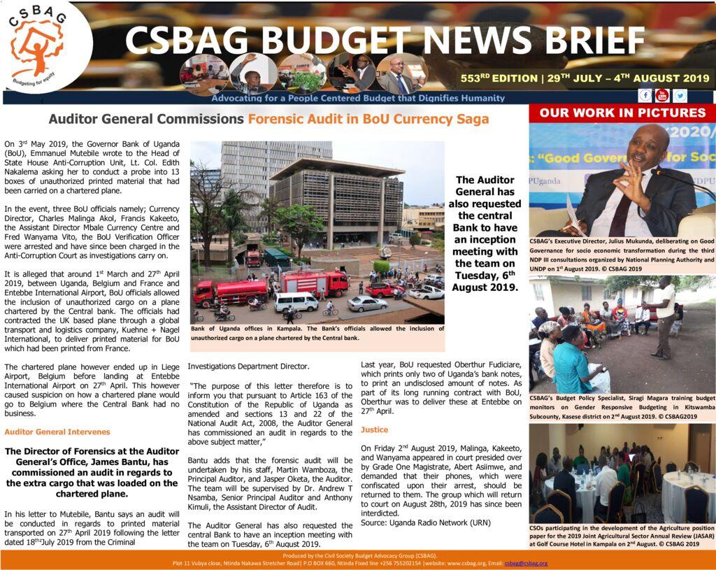 thumbnail of CSBAG BUDGET NEWS 553 5th Aug 2019