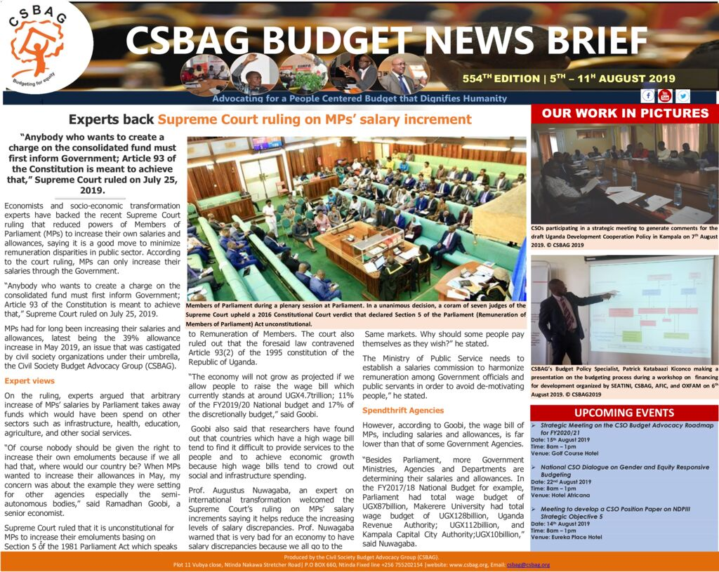 thumbnail of CSBAG BUDGET NEWS 554 Experts back Supreme Court ruling on MPs' salary increment 11th Aug 2019