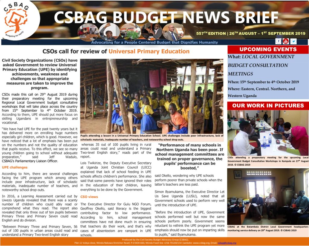 thumbnail of CSBAG BUDGET NEWS 557 CSOs call for review of Universal Primary Education