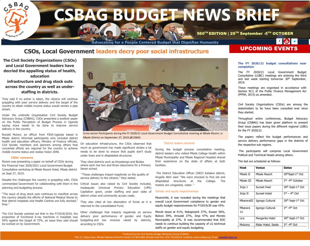 thumbnail of CSBAG BUDGET NEWS- CSOs, Local Government leaders decry poor social infrastructure 29th sept 2019