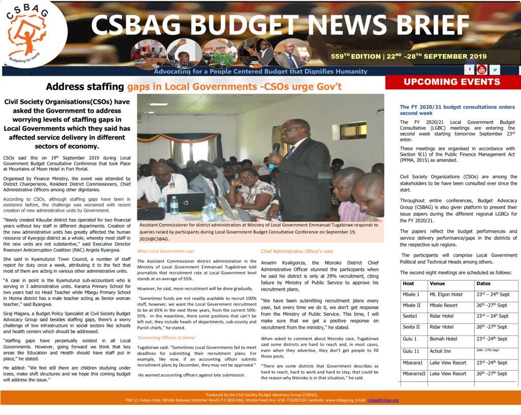 thumbnail of CSBAG BUDGET NEWS- CSOs urge Gov't to address staffing gaps 22nd sept 2019