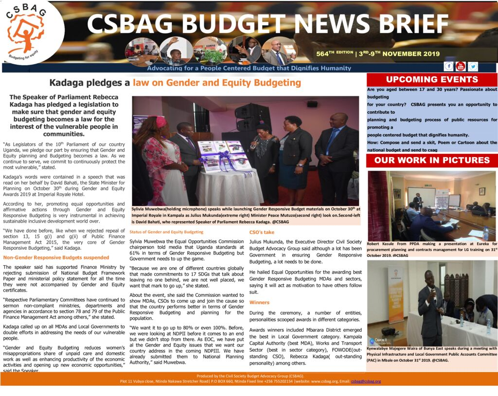 thumbnail of CSBAG BUDGET NEWS- Kadaga pledges a law on Gender Responsive Budgeting 3rd Nov 2019