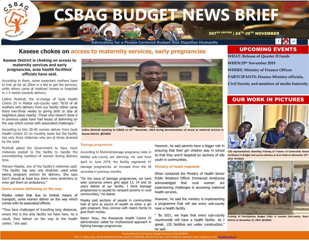 thumbnail of CSBAG BUDGET NEWS- Kasese chokes on maternity access, teenage pregnancies 25-Nov 2019