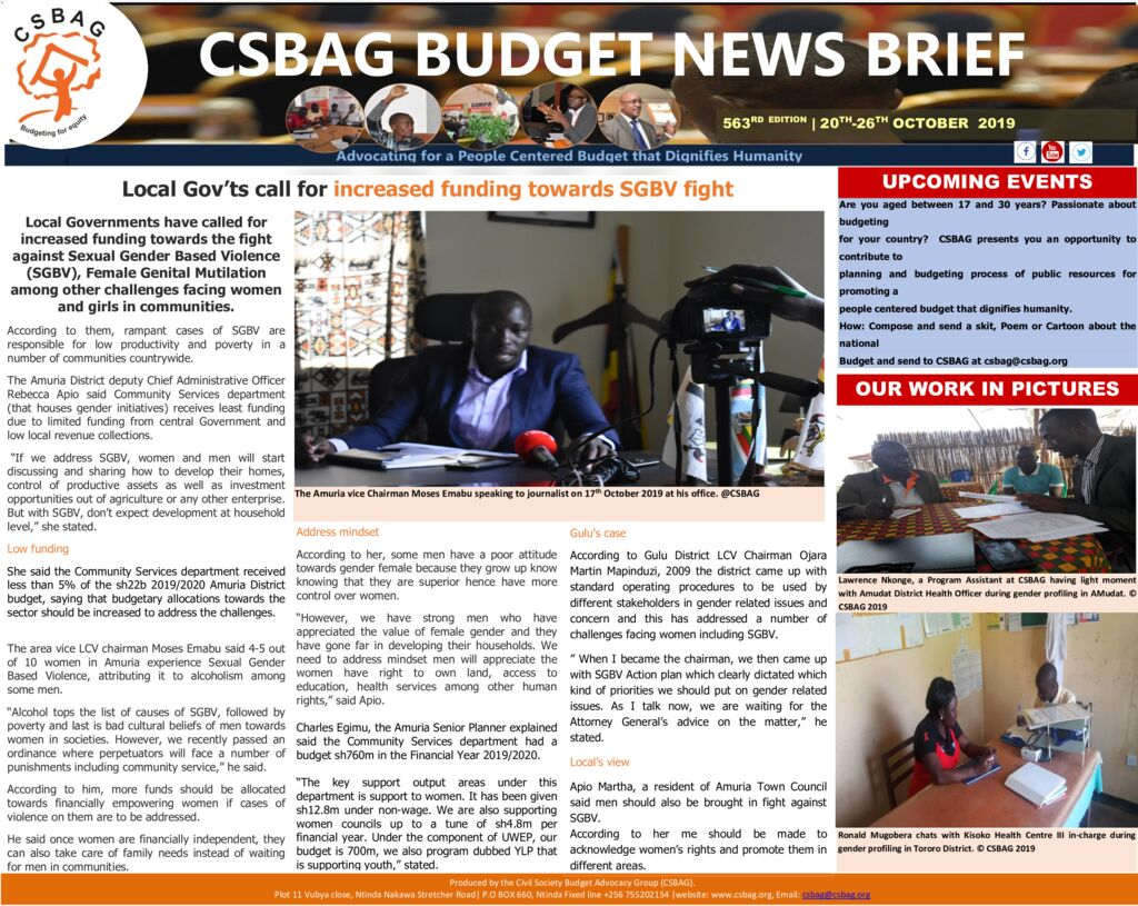 thumbnail of CSBAG BUDGET NEWS- Local Governments call for increased funding towards SGBV fight. 20th Oct 2019