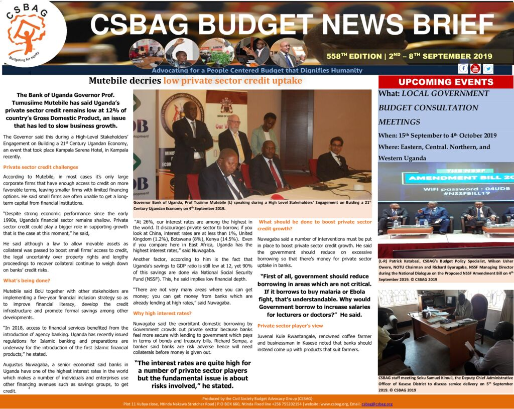 thumbnail of CSBAG BUDGET NEWS Mutebile decries low private sector credit uptake