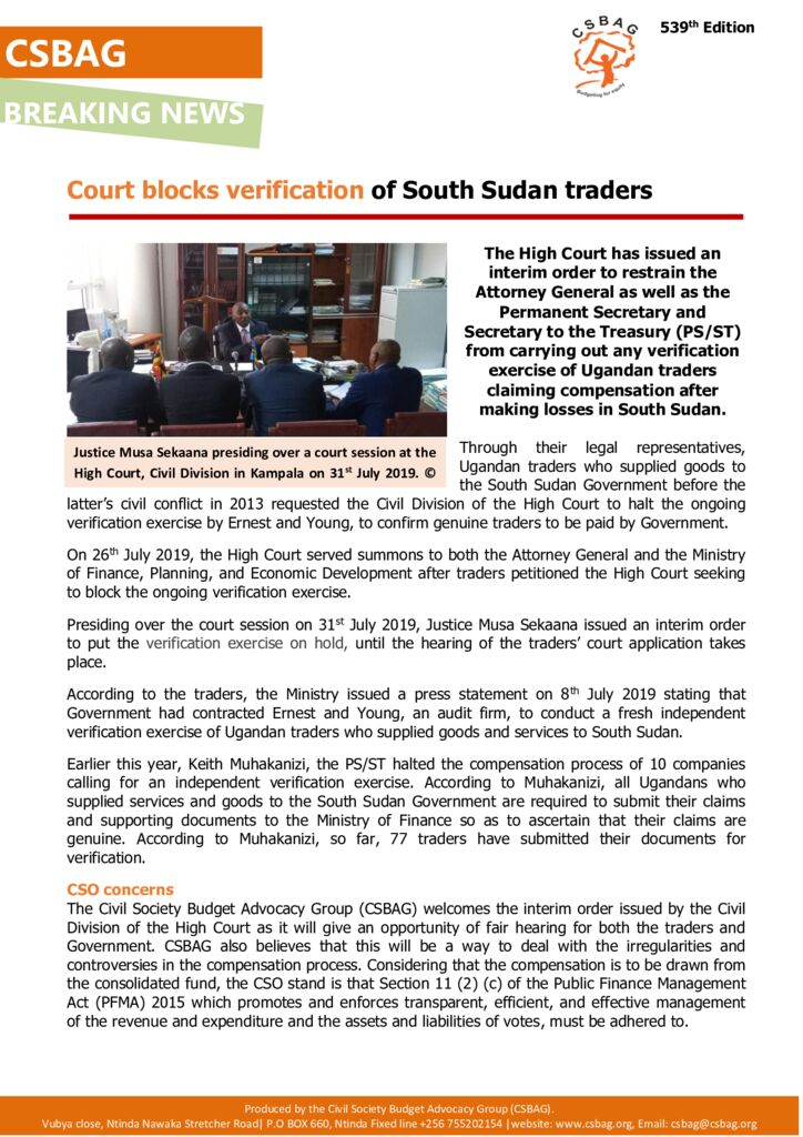 thumbnail of CSBAG NEWS UPDATE – Court Block South Sudan Trader's Verification 1st Aug 2019