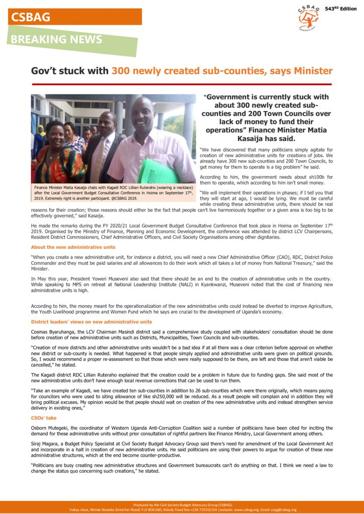 thumbnail of CSBAG NEWS UPDATE- Gov't stuck with newly created sub-counties